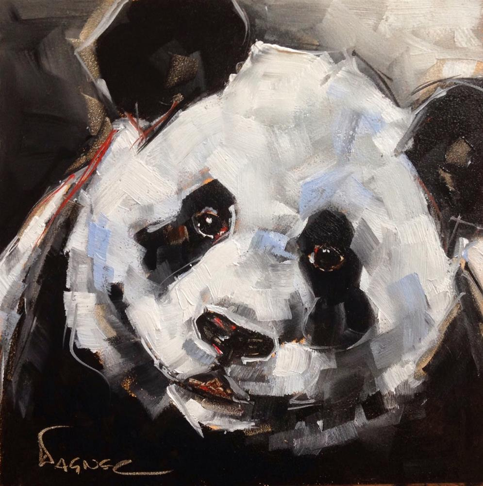 """ORIGINAL PANDA BEAR PAINTING in OILS by OLGA WAGNER"" original fine art by Olga Wagner"