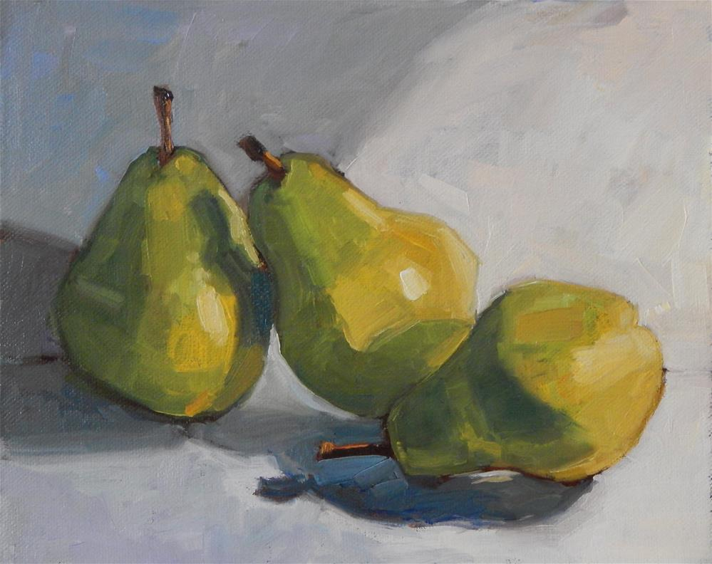 """Three Pears, Leaning"" original fine art by Lisa Kyle"