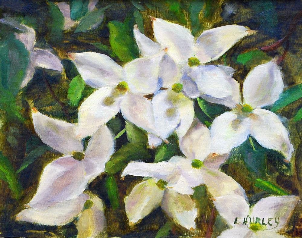 """Dogwood Blossoms (plein air)"" original fine art by Ellen Hurley"