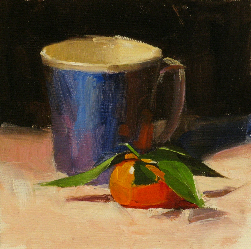 """Tangerine with Leaves"" original fine art by Qiang Huang"