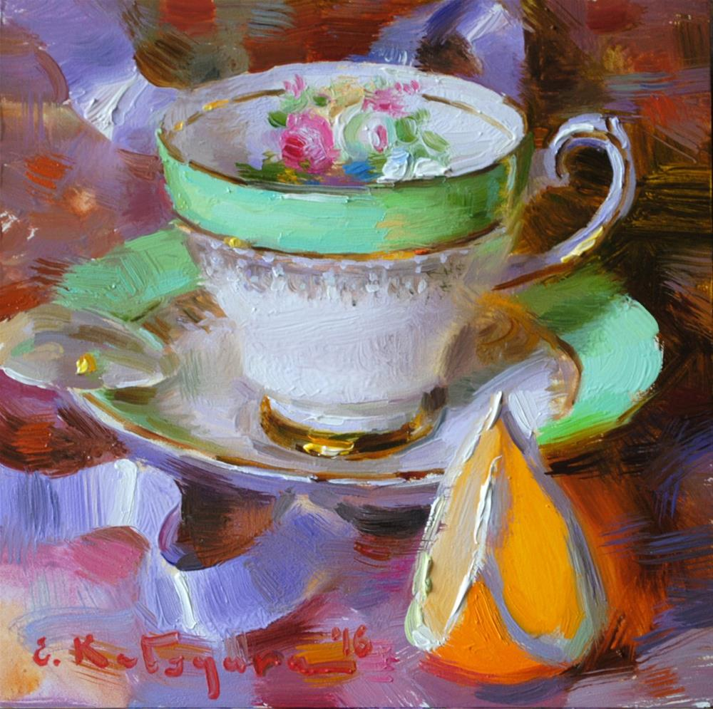 """Green Teacup and Orange"" original fine art by Elena Katsyura"