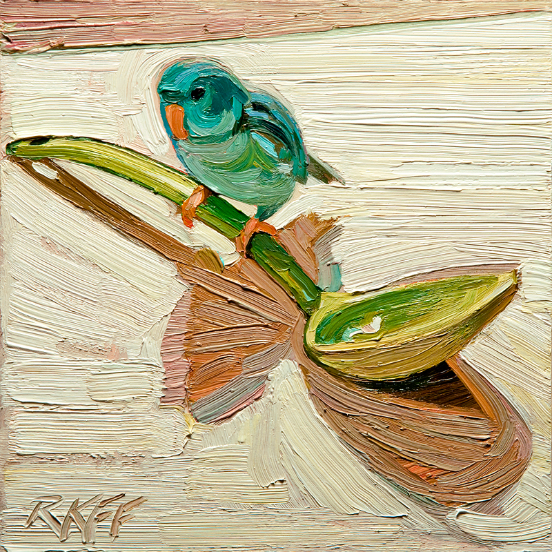 """Peeps Perch: 6x6 oil on panel"" original fine art by Ken Faulks"