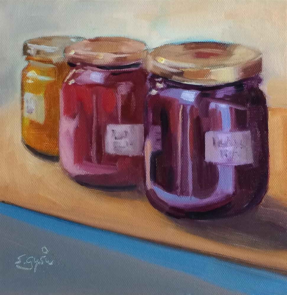"""J - is for Jars of Jam"" original fine art by Suzanne Gysin"