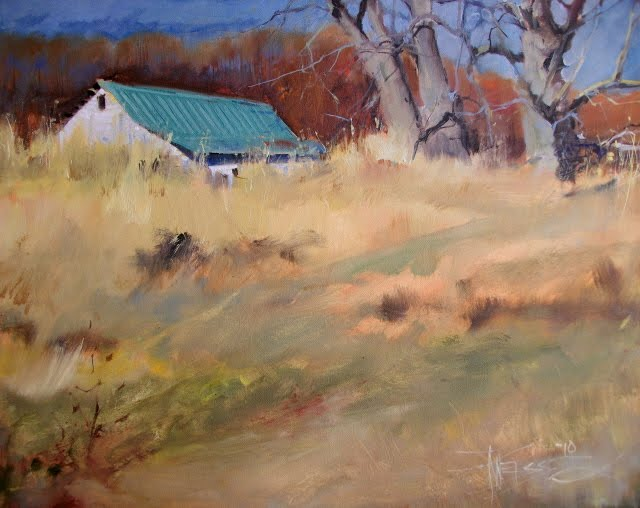 """""""The Barn on Marrowstone Island  oil landscape painting, Pacific Northwest"""" original fine art by Robin Weiss"""