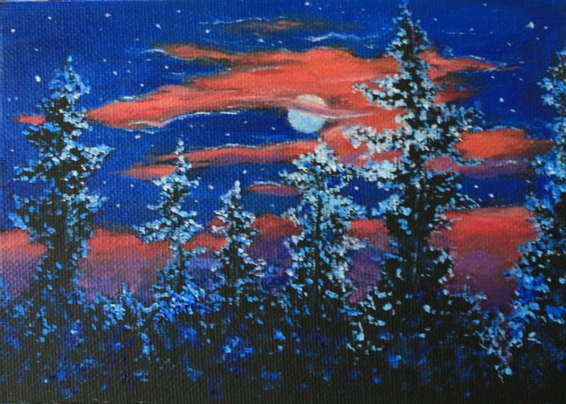 """""""Blue Moon Effects"""" original fine art by Jean Nelson"""