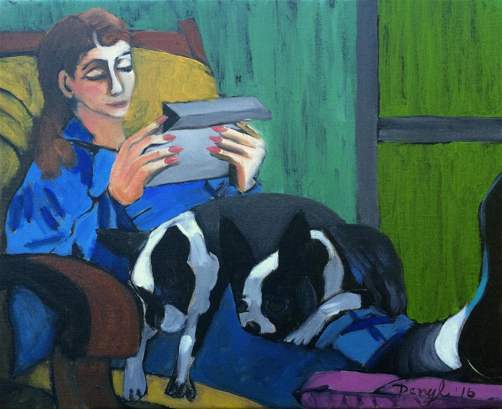 """Reading with the Pups"" original fine art by Darryl Freeman"