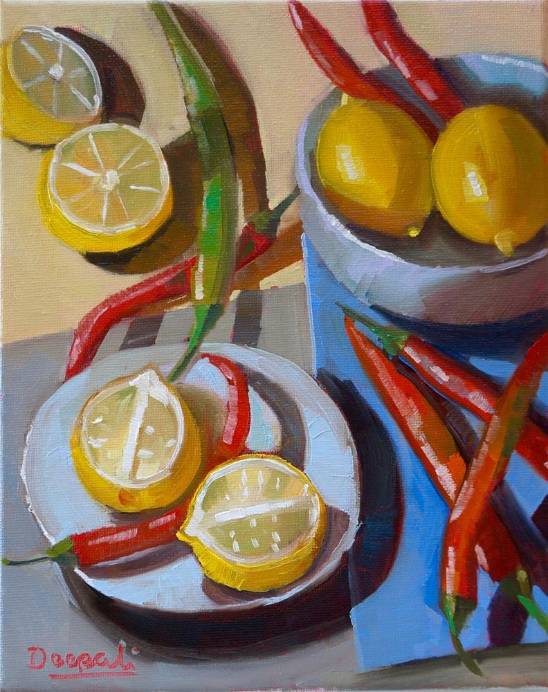 """Lemons and chillis"" original fine art by Dipali Rabadiya"