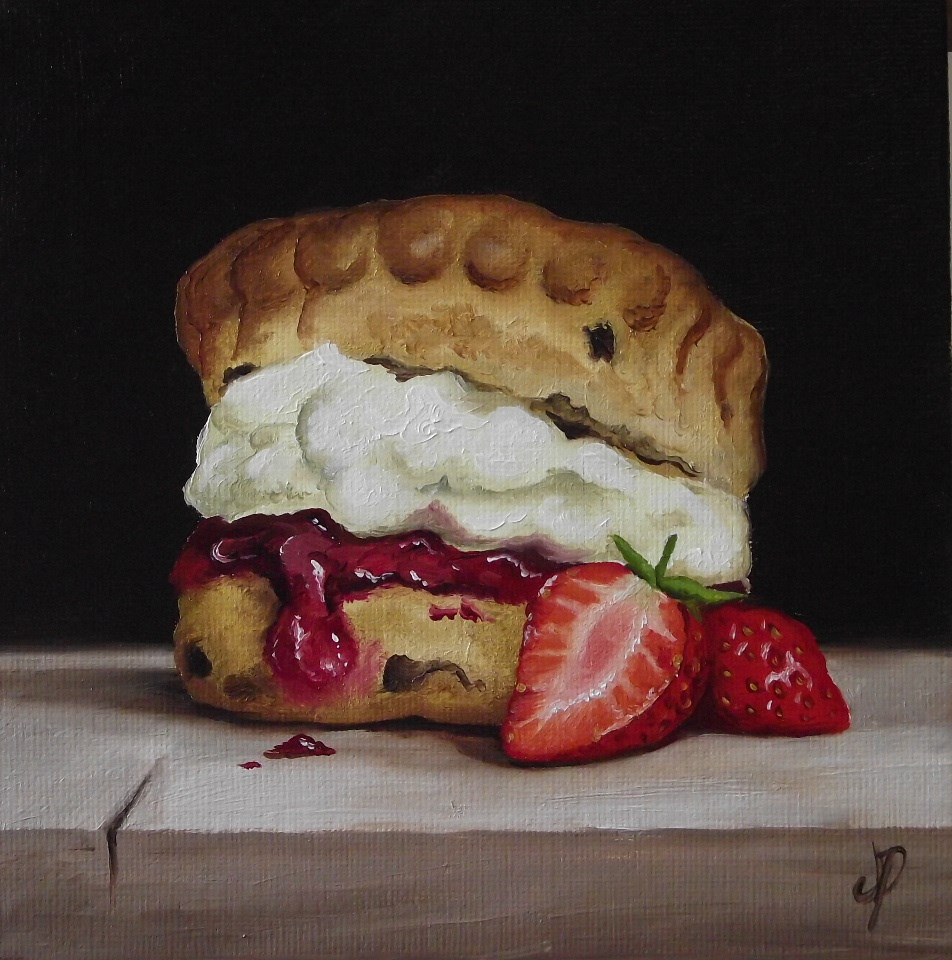 """Scone with Strawberry"" original fine art by Jane Palmer"