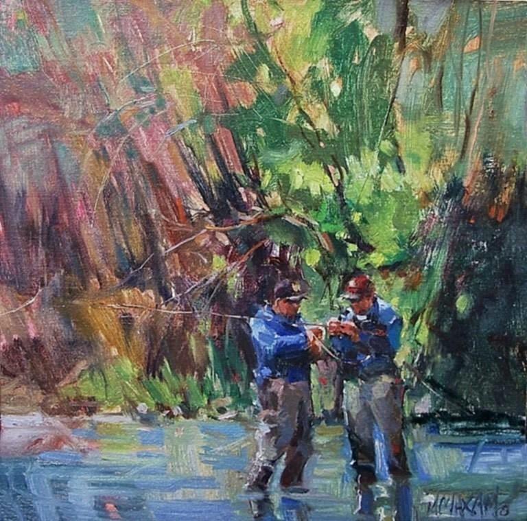 """Streamside Conversation"" original fine art by Mary Maxam"