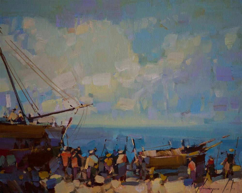 """Seashore Original oil Painting on Canvas Impressionism"" original fine art by V Y"
