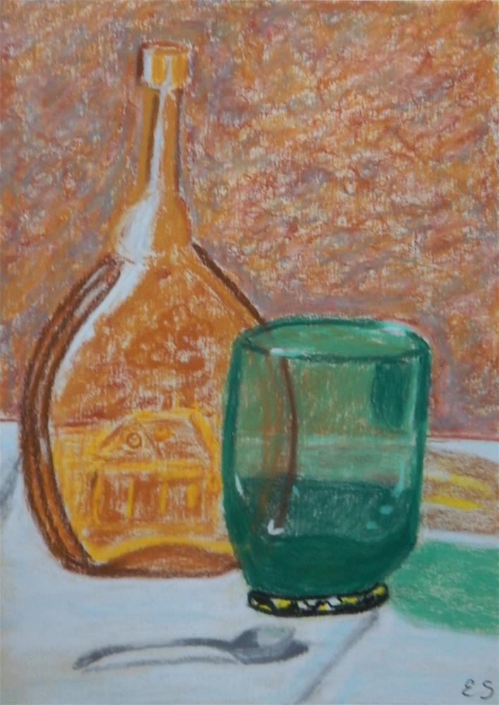 """Colored Glass with Silver Spoon"" original fine art by Elaine Shortall"