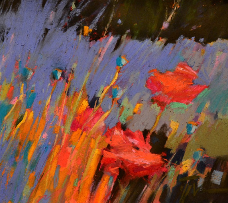 """Poppy Blues"" original fine art by Jennifer Evenhus"