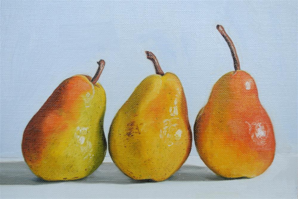 """Three Pears"" original fine art by James Coates"