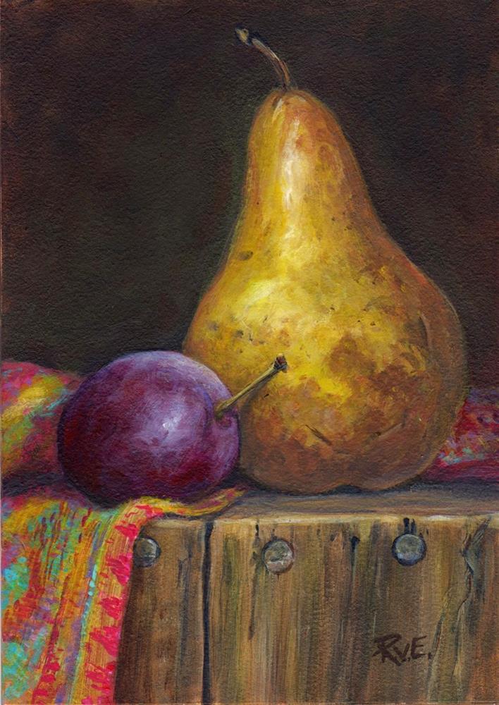 """Pear and plum"" original fine art by Ruth Van Egmond"