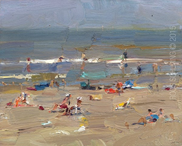 """Seascape Pleinair ""The Towel People are here"""" original fine art by Roos Schuring"