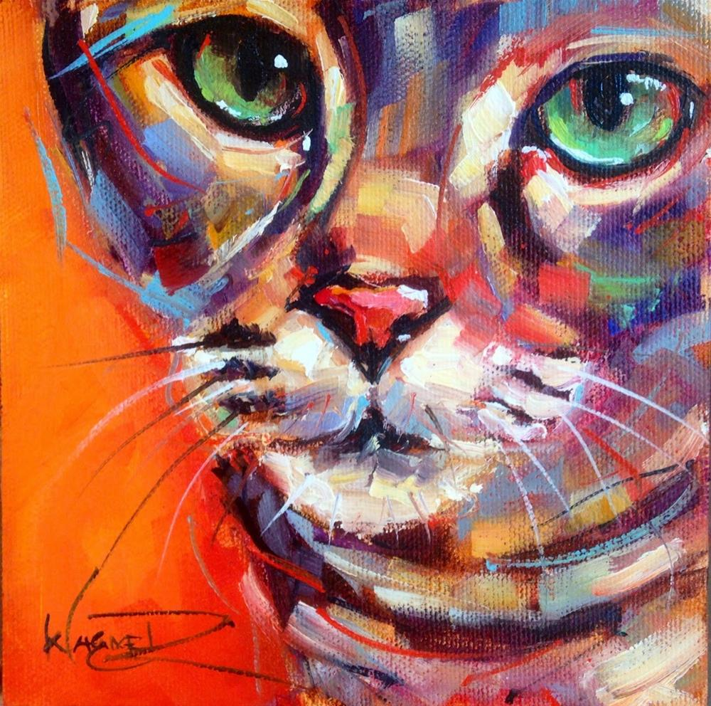 """CONTEMPORARY AND COLORFUL CAT OIL PAINTING by OLGA WAGNER"" original fine art by Olga Wagner"