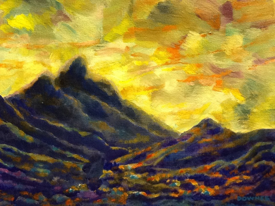 """096 MOUNT WARNING 29"" original fine art by Trevor Downes"