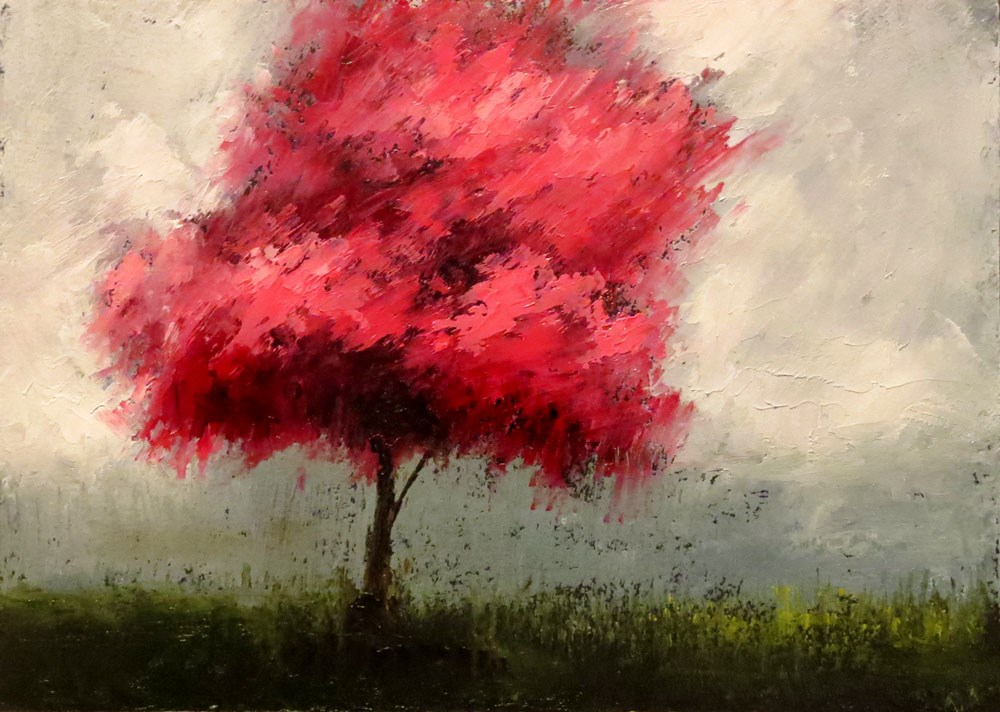 """Redbud Tree in the Park II"" original fine art by Bob Kimball"