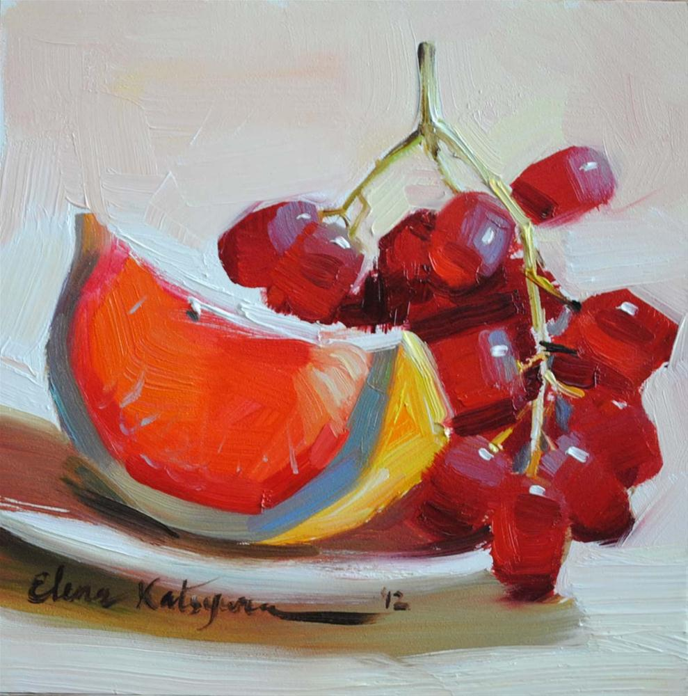 """Grapes and Grapefruit"" original fine art by Elena Katsyura"
