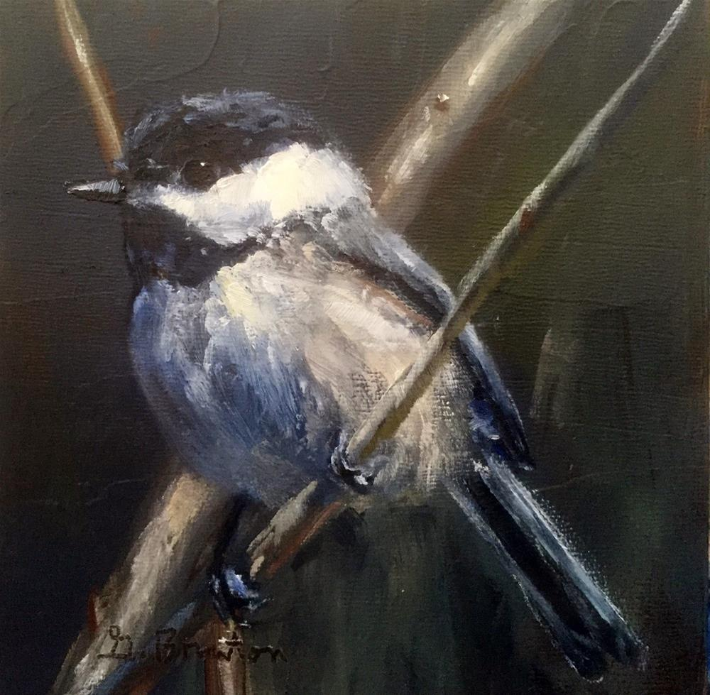 """Chickadee, Softly Lit"" original fine art by Gary Bruton"