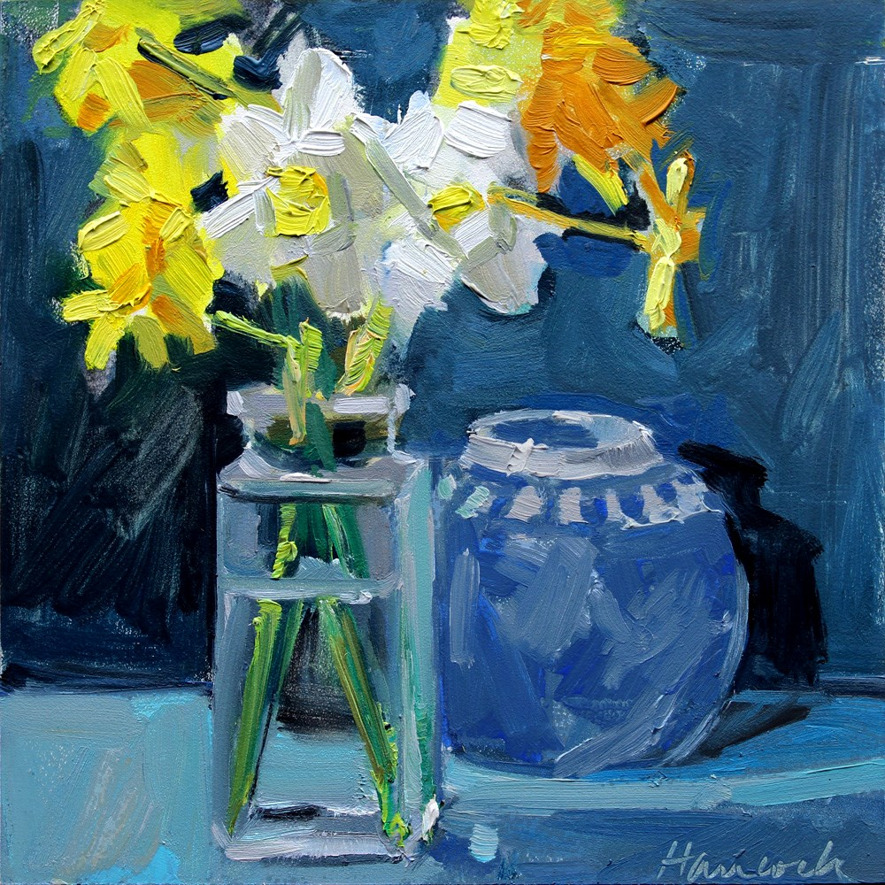 """Daffodils, Glass Vase, Blue Jar on Blue"" original fine art by Gretchen Hancock"