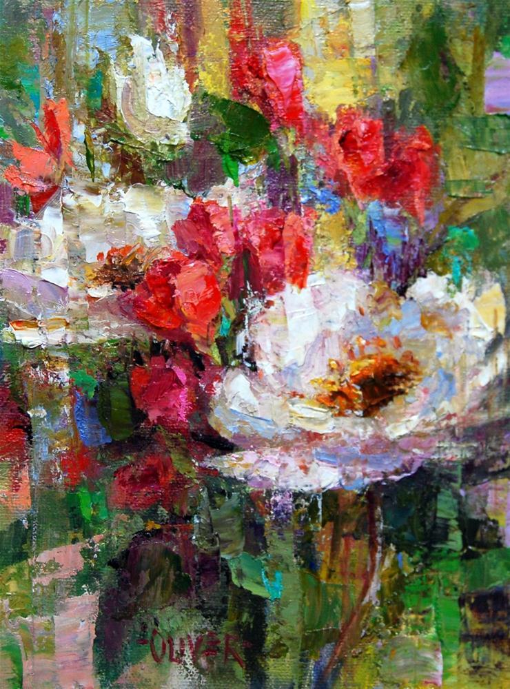 """""""White Roses"""" original fine art by Julie Ford Oliver"""