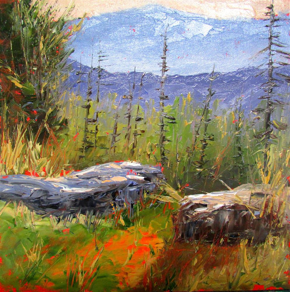 """8 x 8 inch oil Mountain Stones"" original fine art by Linda Yurgensen"