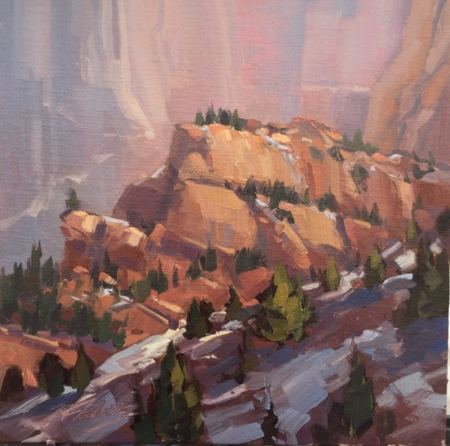 """Snow in the Shadows - Kolob Canyons"" original fine art by Mary Jabens"
