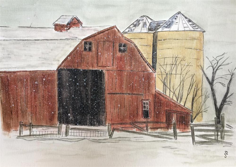 """""""Red Barn #2 13 x 16 (unframed $55)"""" original fine art by Nancy Beard"""