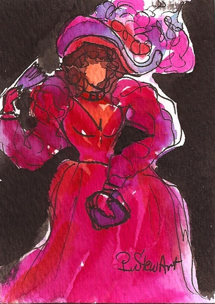 """ACEO Victorian Lady in Pink Watercolor & Pen, Original Art, Not a Print"" original fine art by Penny Lee StewArt"