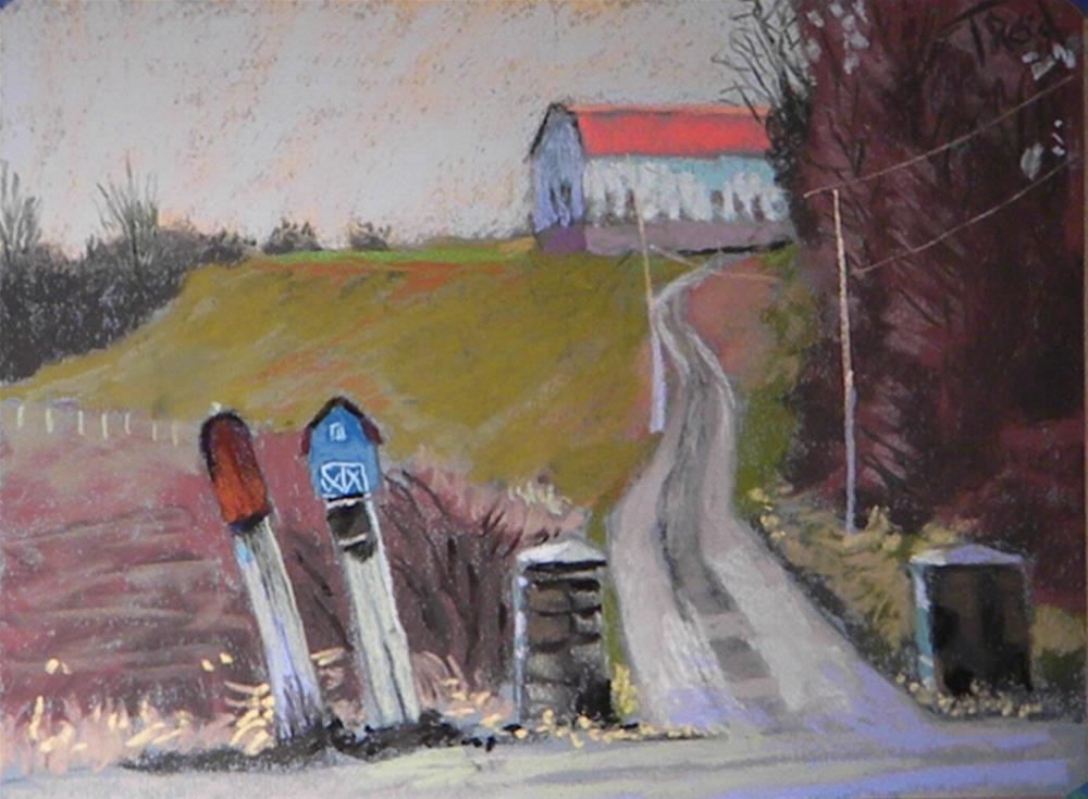"""Two mailboxes down"" original fine art by Toby Reid"