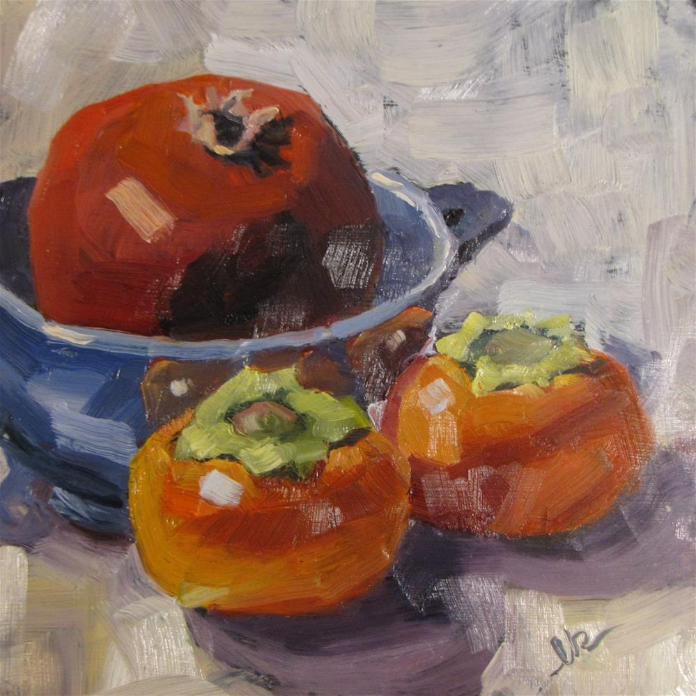 """Pomegranate and Persimmons"" original fine art by Louise Kubista"