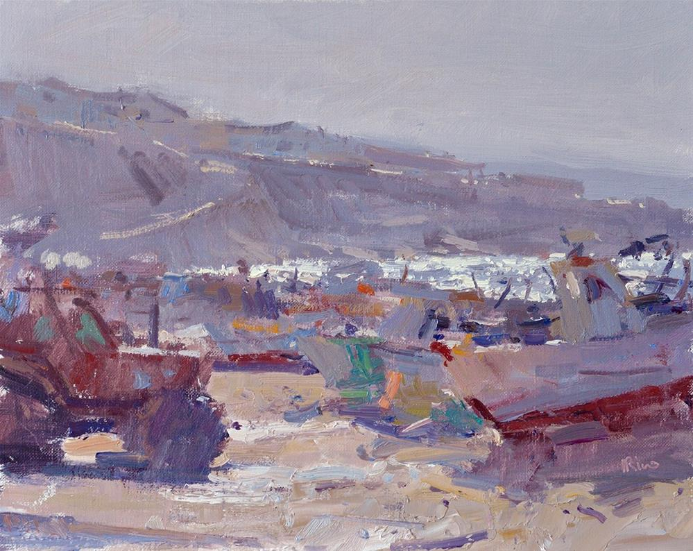 """Morning at the port"" original fine art by Lena  Rivo"