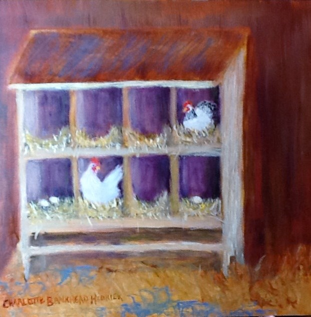 """WHO LET THE HENS OUT"" original fine art by Charlotte Bankhead Hedrick"