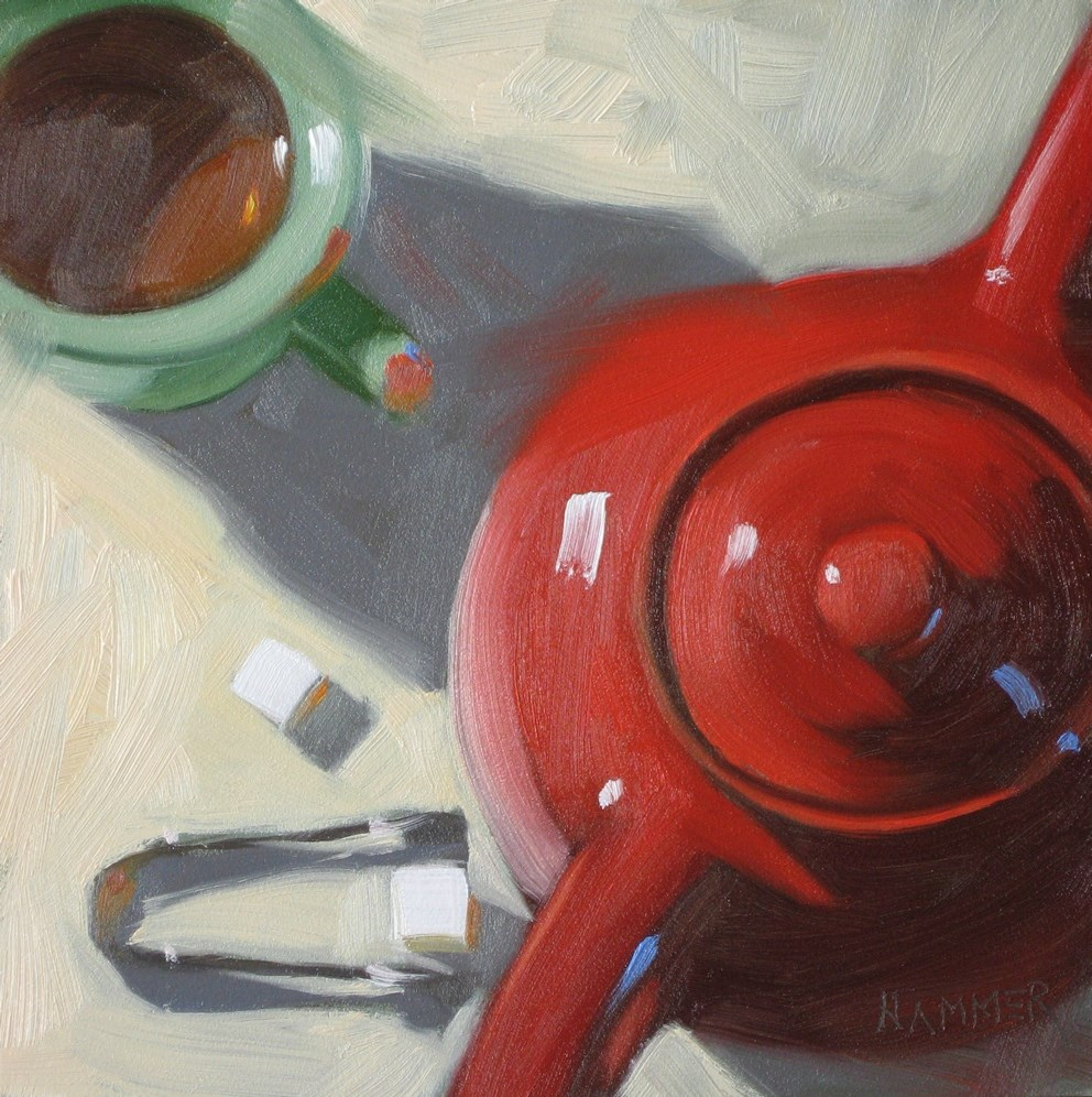 """Tea with two cubes 6x6 oil"" original fine art by Claudia Hammer"