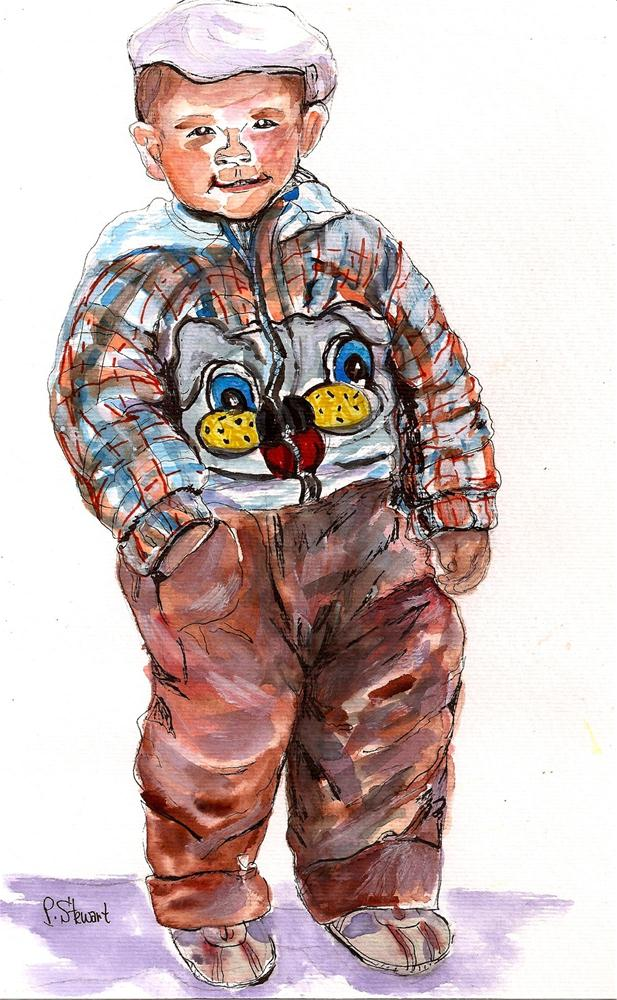 """11x7, Rumpled Boy with Hat, Watercolor"" original fine art by Penny Lee StewArt"