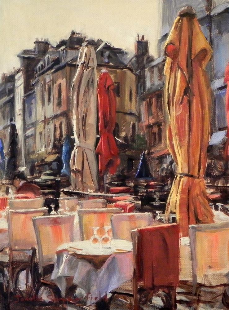 """Cafe Table in Honfleur III"" original fine art by Jonelle Summerfield"