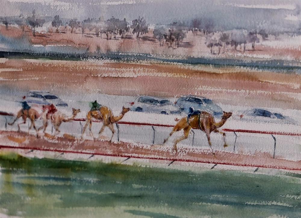 """""""Al Marmoom  Camel racetrack 7/7"""" original fine art by Midori Yoshino"""