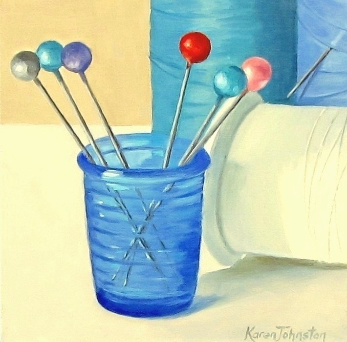 """Blue Thimble"" original fine art by Karen Johnston"