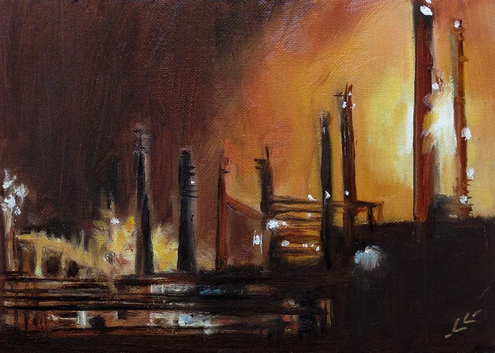 """Night Work"" original fine art by Linda Lowery"