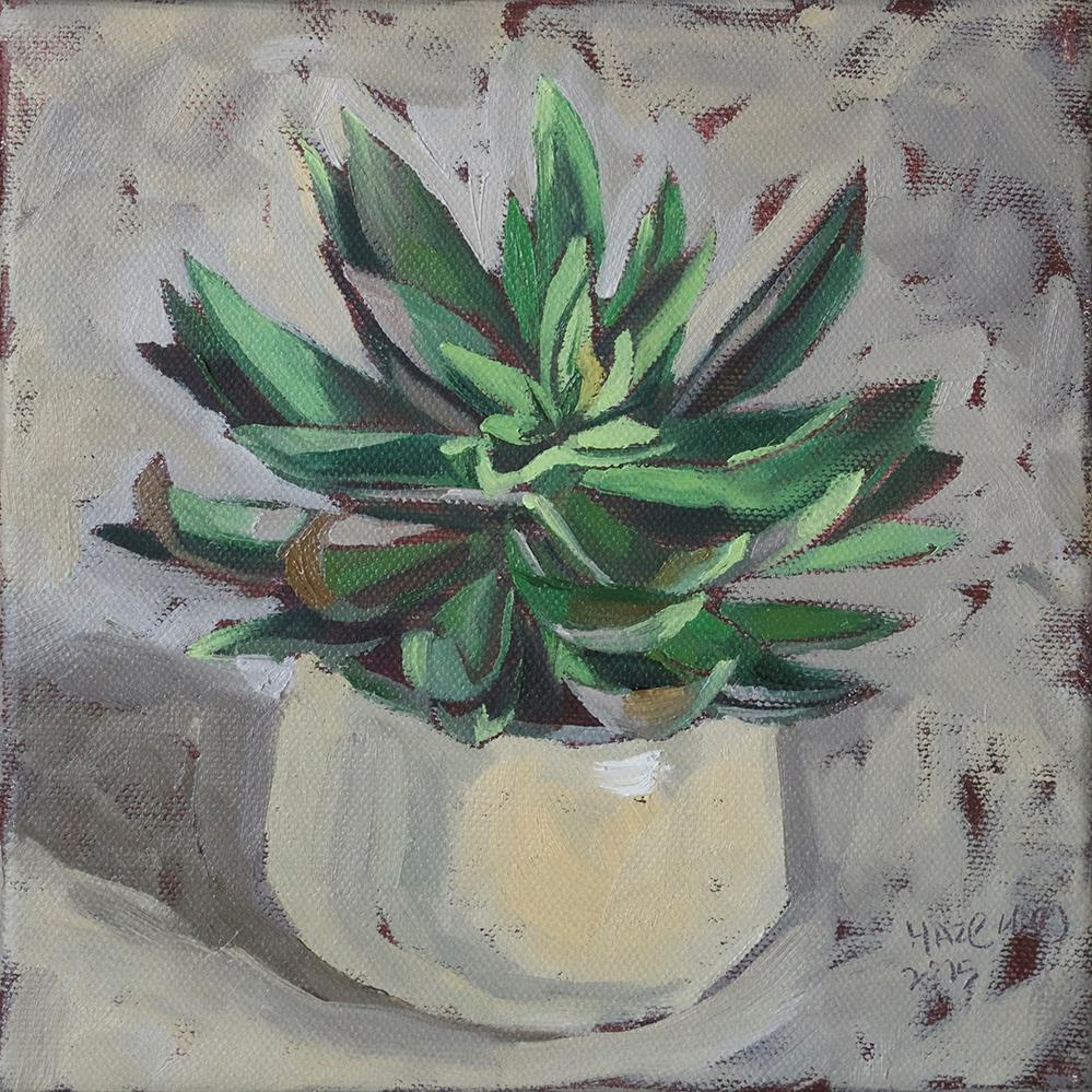 """Potted Succulent III"" original fine art by Haze Long"