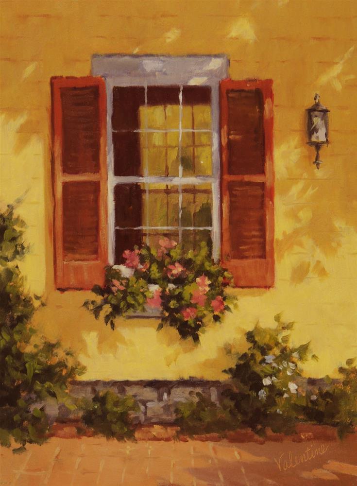 """Red Shutters"" original fine art by Barbara Valentine"