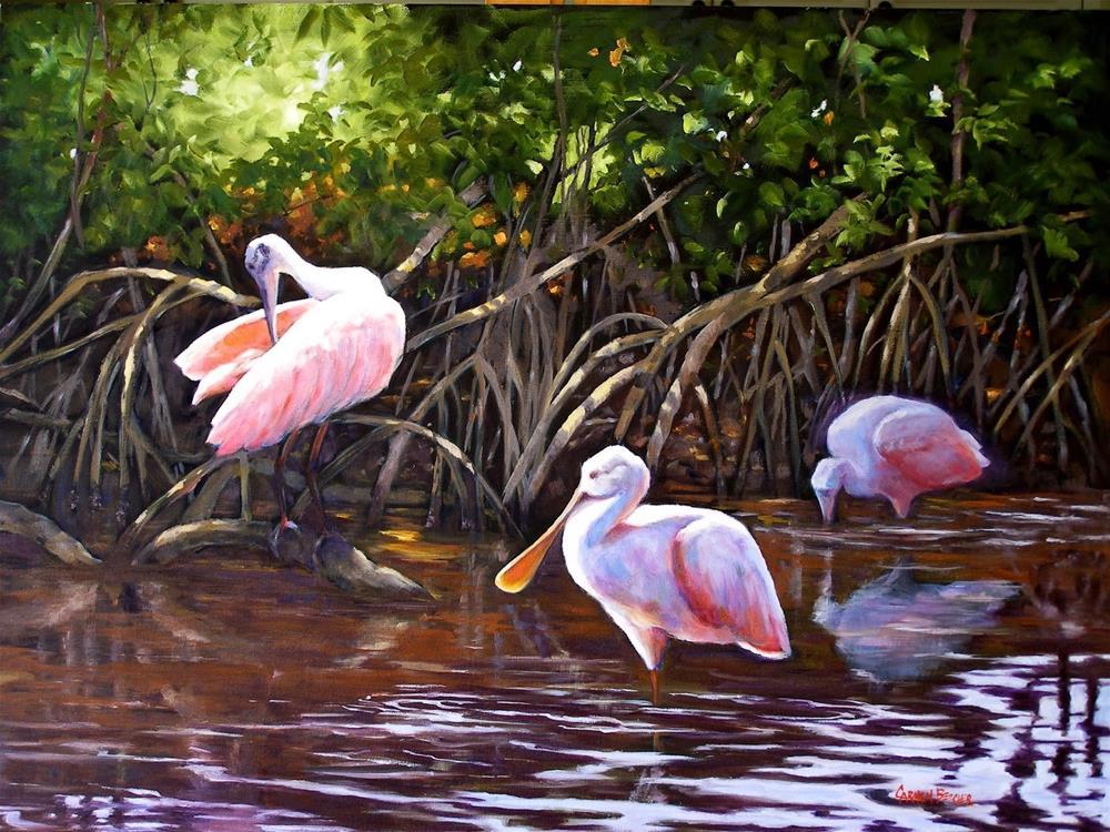 """""""Roseate Spoonbills, 24x18 Oil on Canvas"""" original fine art by Carmen Beecher"""