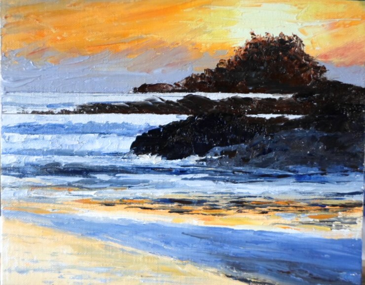 """8 x 10 inch Tofino sunset"" original fine art by Linda Yurgensen"