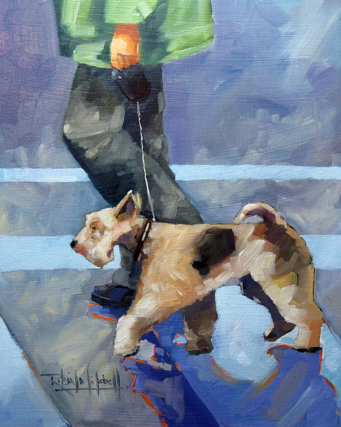 """No 557 Using the Crosswalk"" original fine art by Robin J Mitchell"