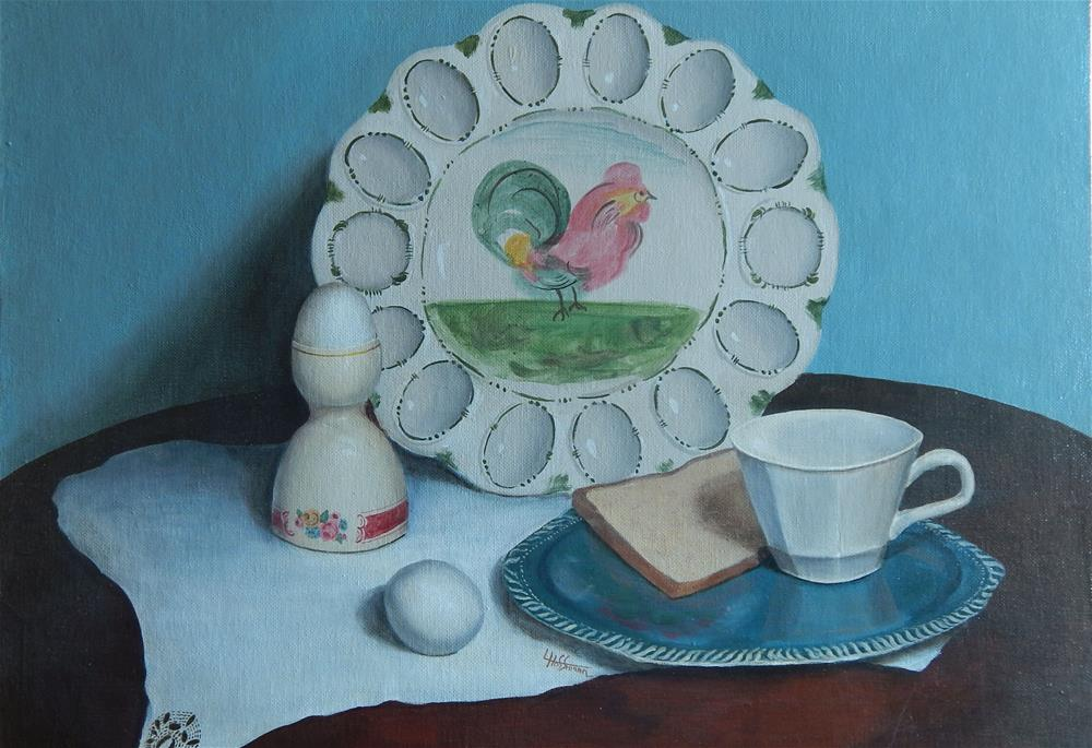 """Breakfast with My Aunt"" original fine art by Lina Ferrara"