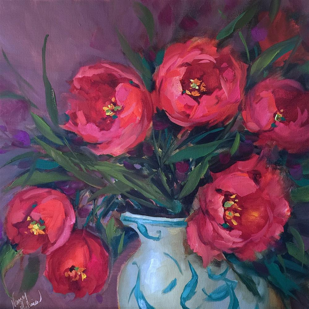 """Countdown to Online Color! Red Velvet Tulips"" original fine art by Nancy Medina"