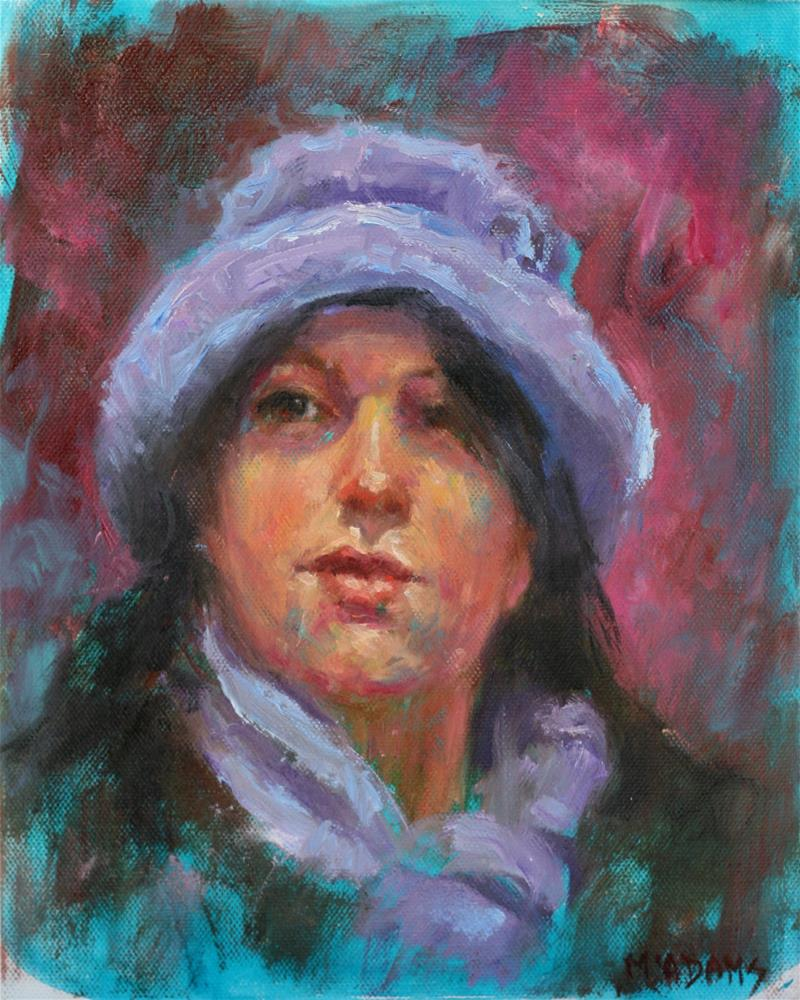 """Girl in the Blue hat and scarf"" original fine art by Phyllis McAdams"