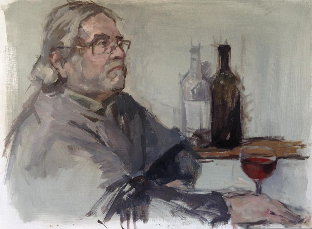 """glass of wine"" original fine art by Christine Bayle"