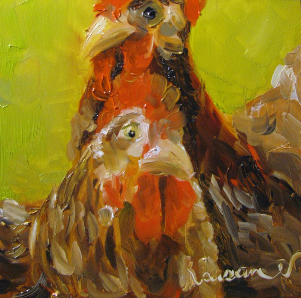 """Laying Hens"" original fine art by Susan Elizabeth Jones"